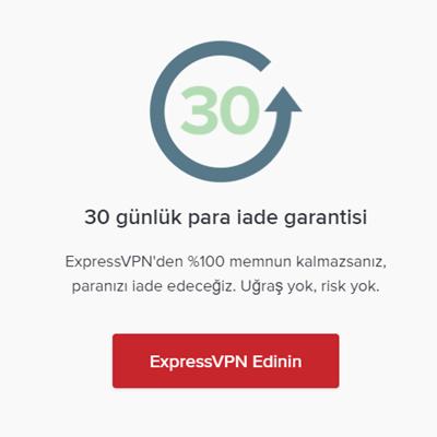 ExpressVPN'den Tüm Yeni Üyelere 30 Gün İade Garantisi