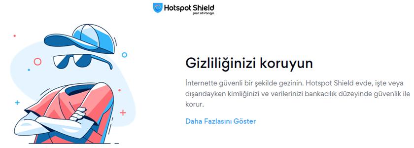 Hotspot Shield giriş ekranı