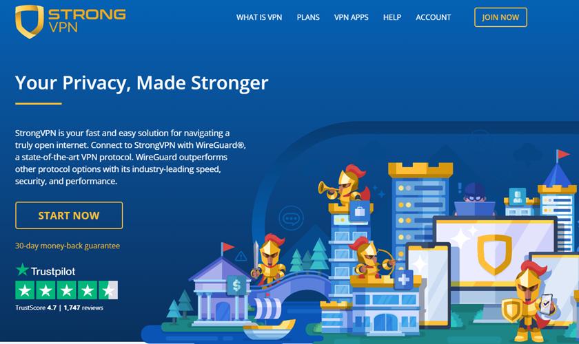 StrongVPN giriş ekranı